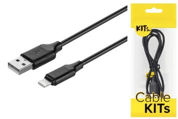 Кабель KITs USB 2.0 to Lightning cable, 2A, black, 1m