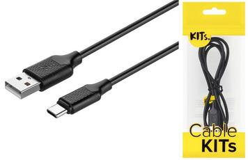 Кабель KITs USB 2.0 to USB Type-C cable, 2A, black, 1m